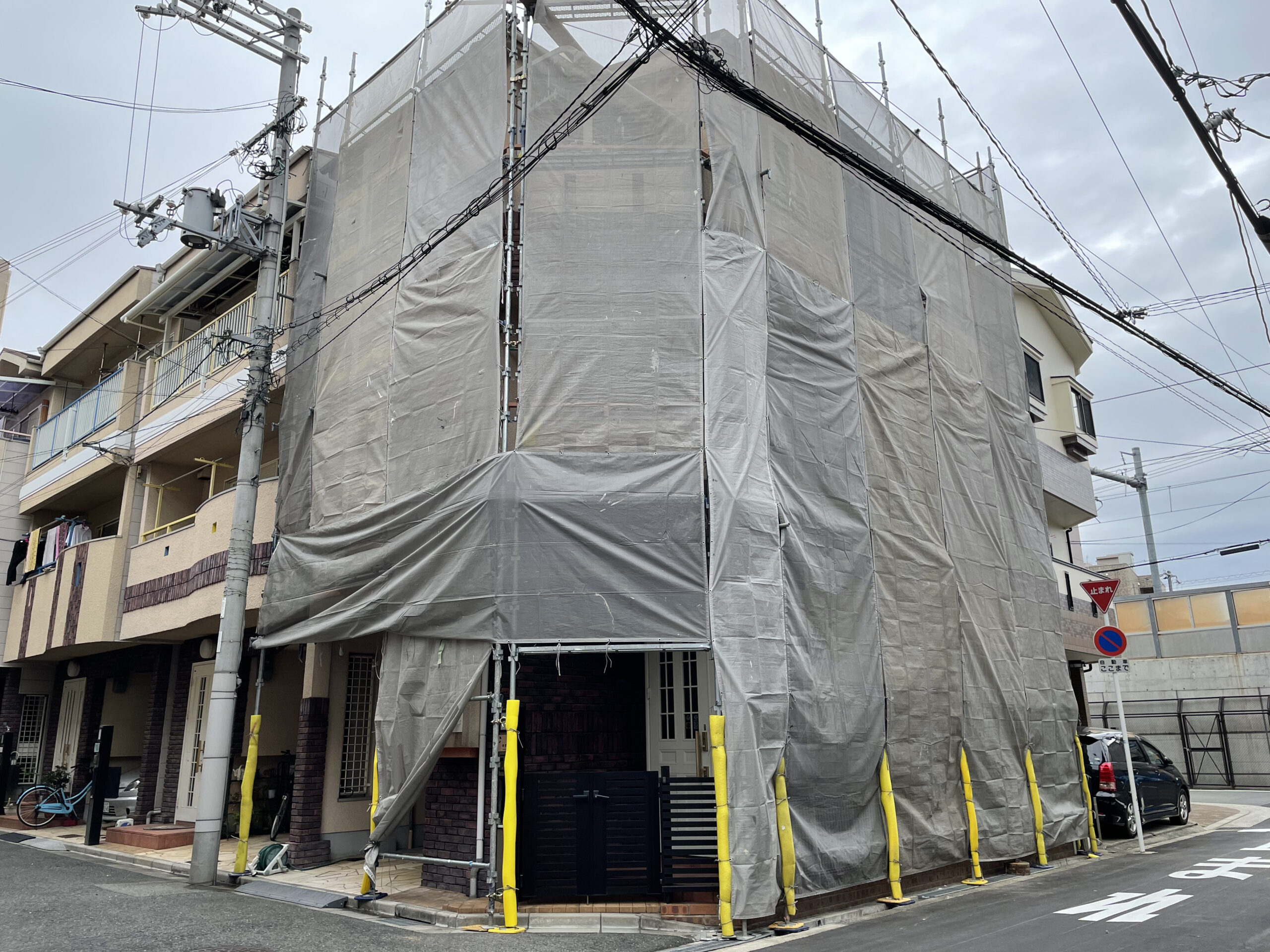 足場設置完了 大阪市住吉区N様邸外壁塗装・屋根塗装工事   外壁・屋根塗装専門店 ペイントプロ