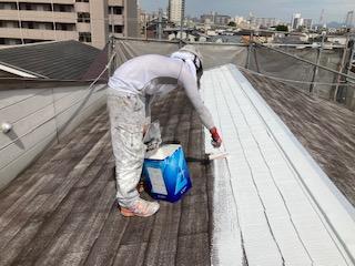 0526屋根塗装 シーラー塗布0525屋根塗装 プライマー乾燥中|大阪市住吉区N様邸外壁塗装・屋根塗装工事 | 外壁・屋根塗装専門店 ペイントプロ