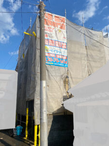 足場設置工事完了2|K様邸外壁塗装工事 | 大阪市の外壁塗装・屋根塗装専門店 ペイントプロ