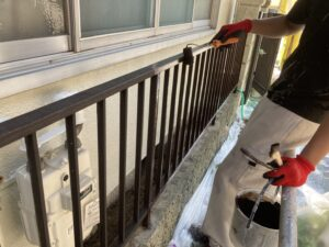 210730_柵上塗り 鉄部塗装工事 K様邸外壁塗装工事